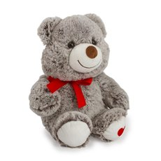 Valentines Teddy Bears - Judy Valentine bear with heart on feet grey  (28cmST)