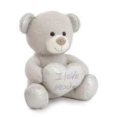 Valentines Teddy Bears - Duby bear with heart I love uhug grey (32cmST)