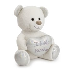 Valentines Teddy Bears - Duby bear with heart I love uhug white (32cmST)