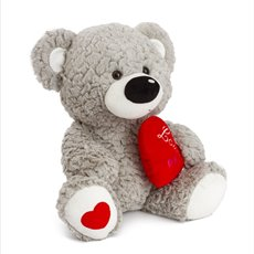 Valentines Teddy Bears - Lolly bear with black nose grey (37cmST)