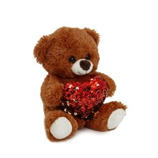 Valentines Teddy Bears - Mia Bear with Red Sequined Heart Brown (18cmST)