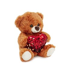 Valentines Teddy Bears - Mia Bear with Red Sequined Heart Light Brown (18cmST)