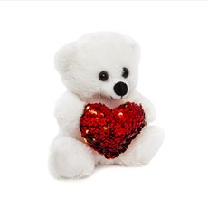 Valentines Teddy Bears - Mia Bear with Red Sequined Heart White (18cmST)