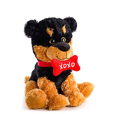 Valentines Teddy Bears - German Shepherd Puppy withXoxo Bone Brown Black (30cmST)