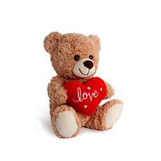 Valentines Teddy Bears - Jordan Bear with Red Heart Brown (25cmST)