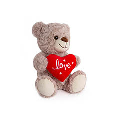 Valentines Teddy Bears - Jordan Bear with Red Heart Grey (25cmST)