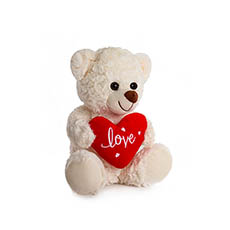 Valentines Teddy Bears - Jordan Bear with Red Heart White (25cmST)