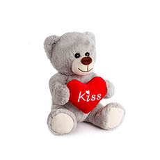 Valentines Teddy Bears - Bryson Bear with Kiss Heart Grey (25cmST)