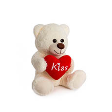 Valentines Teddy Bears - Bryson Bear with Kiss Heart White (25cmST)