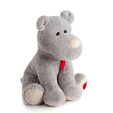 Valentines Teddy Bears - Puppy with Heart Embroidery on foot Grey (30cmST)