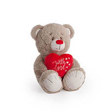 Valentines Teddy Bears - Quincy Bear with Red Heart Brown (24cmST)