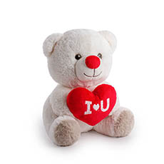 Valentines Teddy Bears - Snow Bear with I Love You White (23cmST)