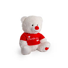 Valentines Teddy Bears - Becca Bear with Tshirt White (21cmST)