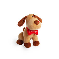 Valentines Teddy Bears - Rex Puppy with Bone Brown (22cmH)