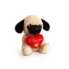 Valentines Teddy Bears - Lola Puppy with Red Heart Beige (21cmST)