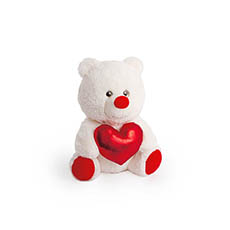 Valentines Teddy Bears - Molly Bear with Flash Heart White (23cmST)