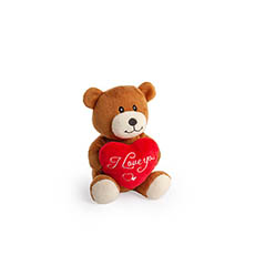 Valentines Teddy Bears - Ollie Bear with Red Heart Brown (14cmST)