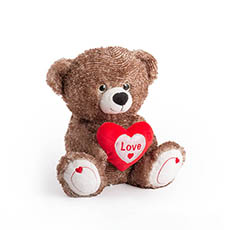 Valentines Teddy Bears - Nico Bear With Heart Dark Brown (25cmST)