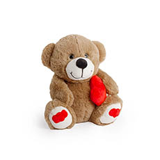 Valentines Teddy Bears - Alec Bear with Heart Dark Brown (19cmST)