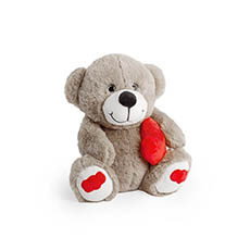 Valentines Teddy Bears - Pookey Bear With Heart Brown (25cmST)