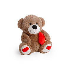Valentines Teddy Bears - Pookey Bear With Heart Dark Brown (25cmST)