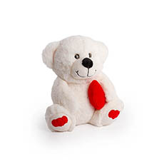 Valentines Teddy Bears - Pookey Bear With Heart White (25cmST)