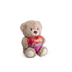 Valentines Teddy Bears - Beedy Bear with Rianbow Heart Brown (16cmST)