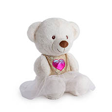 Valentines Teddy Bears - Milo Bear with Shiny Tshirt White (30cmST)