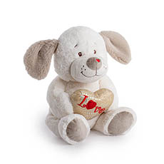 Valentines Teddy Bears - Hugo Puppy with Sparke Heart White (24cmST)