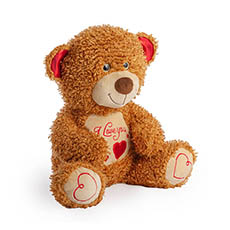 Valentines Teddy Bears - Fudge Bear with Smile Face Brown(34cmST)
