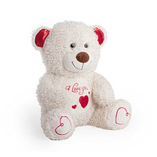 Valentines Teddy Bears - Fudge Bear with Smile Face White (34cmST)