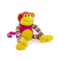 Baby Animal Soft Toys - Milo Monkey Bright Striped Hot Pink (38cmHT)