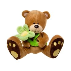 Daisy Teddy Bear with Lime Green Flower Brown (16cmST)