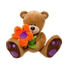 Daisy Teddy Bear with Orange Flower Brown (16cmST)