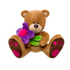 Daisy Teddy Bear with Purple Flower Brown (16cmST)