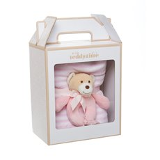 Snuggles Teddy Bear Baby Gift Pack Rattle & Blanket Pink