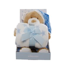 Starbright Teddy Bear Gift Pack Bear and Blanket Blue