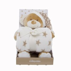 Starbright Teddy Bear Gift Pack Bear and Blanket Brown