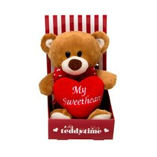 Rory Teddy Bear with Heart Dispaly stand Brown (15cmST)