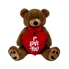 Roland Teddy Bear with Heart Chocolate Brown (60cmST)