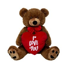 Roland Teddy Bear with Heart Chocolat Brown (70cmST)