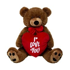 Roland Teddy Bear with Heart Chocolate Brown (90cmST)