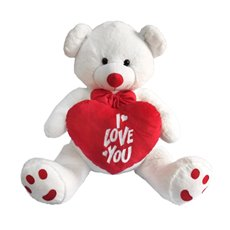 Roland Teddy Bear with Heart White (90cmST)