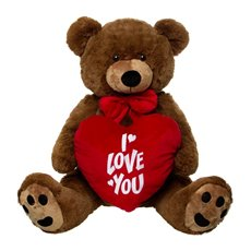 Roland Teddy Bear with Heart Chocolate Brown (110cmST)