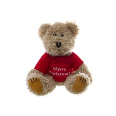 Teddy Bear Message Merry Christmas Red Jumper (20cmHT)