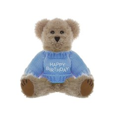 Teddy Bear Message Happy Birthday Blue Jumper (20cmHT)
