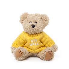 Teddy Bear Message Get Well  Yellow Jumper (20cmHT)