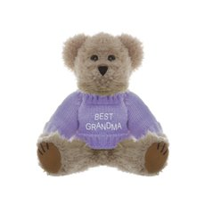 Personalised Teddy Bears - Teddy Bear Message Best Grandma Lavender Jumper (20cmH