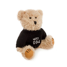 Teddy Bear Message Best Dad Black Jumper (20cmHT)
