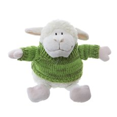 Farm Animal Soft Toys - Sheep Lambert with Jumper White Green (25cmHT)